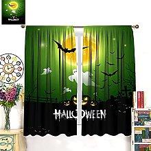 Happy Halloween Ghost Design Green Window Curtain