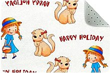 Happy Holiday Door Mat, Machine Washable Soft