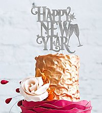 Happy New Years Party Cake Topper - Glitter Silver