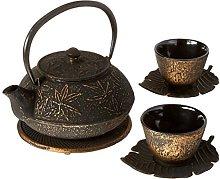 Happy Sales Cast Iron Tea Set Maple Leaf Black &