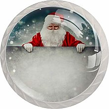 Happy Santa Claus Holding 4pcs Glass Cupboard
