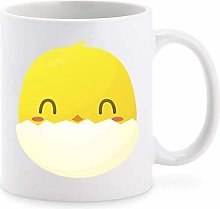Happy Silly Kawaii Chick in Egg Shell Cartoon
