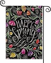 Happy Spring Chalk Drawing Tulips Garden Flag