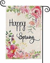 Happy Spring Peony Flower Garden Flag Vertical