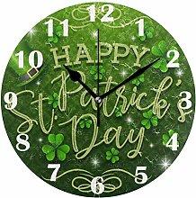 Happy St Patrick's Day Shamrocks Wall Clock