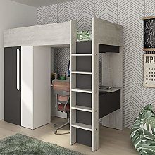 happybeds Wooden High Sleeper, Mont Blanc Grey and
