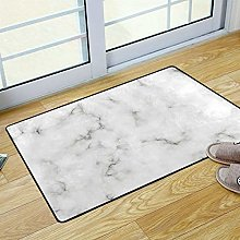 HappyCat White Gray Marble Area Rug for Bathroom