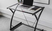 Harbour Housewares Glass Top Computer Desk: Black