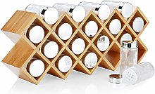 Harcas Bamboo Spice Rack with 18 Spice Jars and