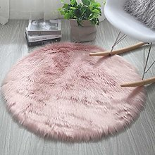 HARESLE Round Shaggy Rugs Faux Fur Rug Soft