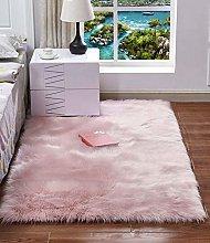 HARESLE Square Faux Fur Rug Fluffy Bedroom Mats