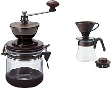 Hario Canister Coffee Grinder Pour Over Kit Brown