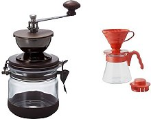 Hario Canister Coffee Grinder Pour Over Kit Red