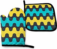 Harla Oven Mitts Potholders Abstract Yellow Blue