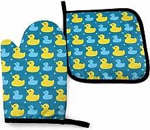 Harla Oven Mitts Potholders Yellow Rubber Ducks