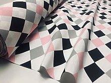 Harlequin Diamond Rhombus Cotton Fabric Upholstery