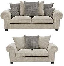 Harley Fabric 3 Seater + 2 Seater Scatter Back Sofa