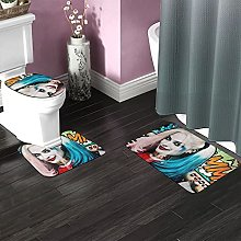 Harley Quinn Bathroom Rugs Set Non-Slip Water