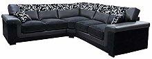 Harmony Corner Sofa Black Faux Leather Fabric
