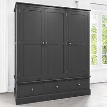 Harper Grey Solid Wood 3 Door 3 Drawer Wardrobe