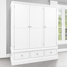 Harper White Solid Wood 3 Door 3 Drawer Wardrobe