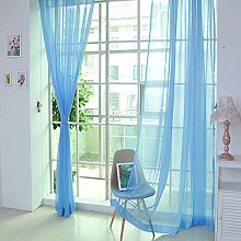 Harpily 1 Pcs Pure Color Tulle Door Window Curtain