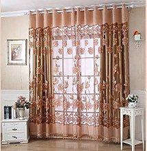 Harpily Curtains 250Cm*100Cm Print Floral Voile