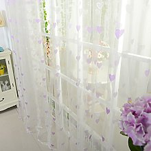 Harpily Small Love Pattern Sheer Curtain Tulle