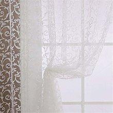 Harpily White Glass Yarn Flocking Curtain Panel