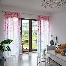 Harpily Window Curtain Leaves And Swallow Sheer