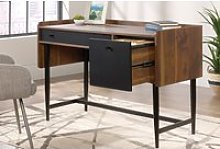 Harris Compact Desk, Grand Walnut/Black