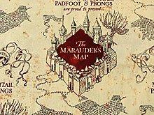 Harry Potter Fabric - Beige Marauders Map Fabric -