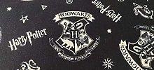 Harry Potter Fabric - Black Hogwarts Crest Fabric