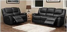 Harvey Reclining 3+2 Leather Sofa Suite Black