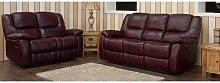 Harvey Reclining 3+2 Leather Sofa Suite Burgandy