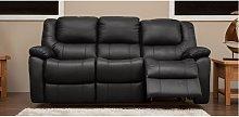 Harvey Reclining 3 Seater Leather Sofa Black