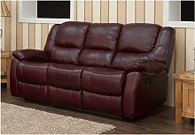 Harvey Reclining 3 Seater Leather Sofa Burgandy
