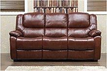 Harvey Reclining 3 Seater Leather Sofa Tabak