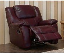 Harvey Reclining Armchair Leather Sofa Burgandy