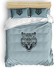 HARXISE Wild Animal 3 Piece Duvet Cover Set, Tiger