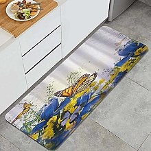 HASENCIV Floor Mat,Butterfly Flower Daisy Weed