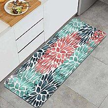 HASENCIV Floor Mat,Dahlia Pinnata Flower Teal