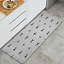 HASENCIV Floor Mat,Diagonal Stripes with Blue