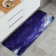 HASENCIV Floor Mat,Dreamy Night with Stars Clouds