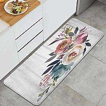 HASENCIV Floor Mat,Dusk Blue Pale Pink Gray White