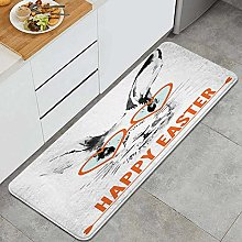 HASENCIV Floor Mat,Easter Rabbit with Glasses