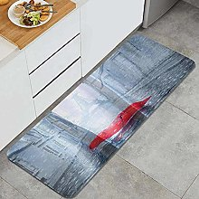 HASENCIV Floor Mat,Effiel Tower with Red