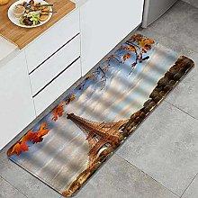 HASENCIV Floor Mat,Eiffel Tower with Autumn Maple
