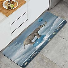 HASENCIV Floor Mat,Elephant with Balloons on Sea