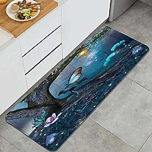 HASENCIV Floor Mat,Enchanted Forest with Blooming